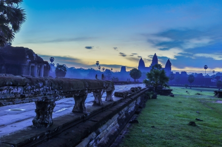 View of Angkor Thom temple complex in Angkor Wat, cambodia photo