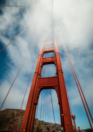 Golden Gate Bridge in San Francisco, California, USA with fog photo