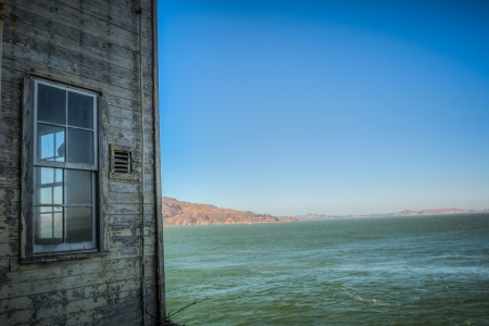 Alcatraz building with window HDR in San Francisco, USA photo