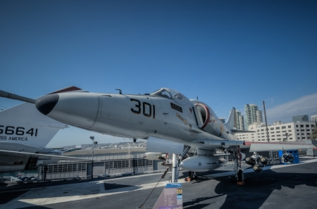 midway: Jet 301 on carrier San Diego USS Midway Deck