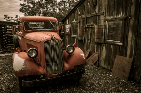 Jerome Arizona Ghost Town mine and red old truck car photo