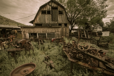 Jerome Arizona Ghost Town western house and trash