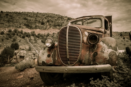 abandoned car: Jerome Arizona Ghost Town mine old car with one lamp