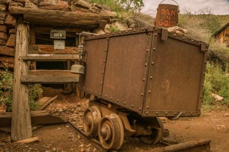 Jerome Arizona Ghost Town mine car and sign photo