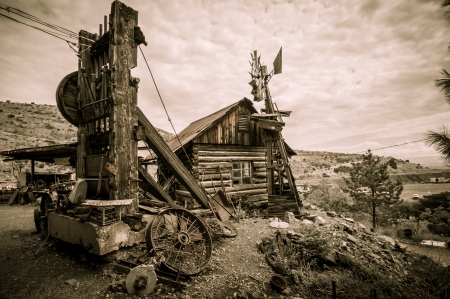 Jerome Arizona Ghost Town mine windmill and old block house photo