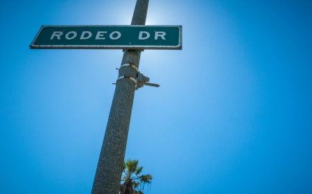 strret: Rodeo Drive Strret sign in Beverly Hills sunlight 2013