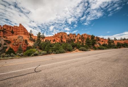 Road to Bryce Canyon amphitheater west USA utah 2013 Standard-Bild