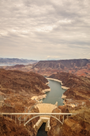 Hoover Dam taken from helicopter near las vegas 2013 with bridge