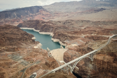 Hoover Dam taken from helicopter near las vegas 2013 daylight photo