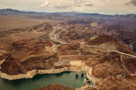 Hoover Dam taken from helicopter near las vegas 2013 photo