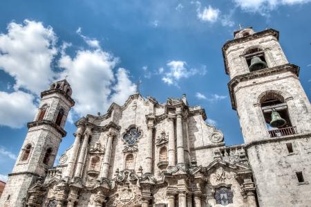 habana: Plaza Vieja with church, Habana ,Cuba, December 26 2012