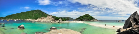 Perfect tropical bay Panorama on Koh Tao a paradise island in Thailand, Asia. photo