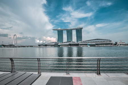 SINGAPORE-MARCH 31: The Marina Bay Sands Resort Hotel on Mar\ 31, 2011 in Singapore. It is an integrated resort and the worlds\ most expensive standalone casino property at S$8 billion.\