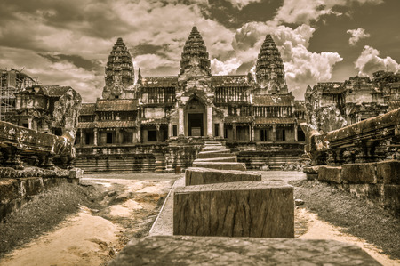 Ancient buddhist khmer temple in Angkor Wat complex, Siem Reap Cambodia Asia photo