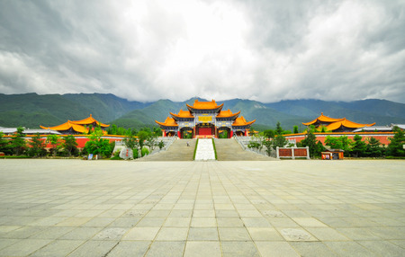 Rebuild Song dynasty town in dali, Yunnan province, China. Three pagodas and water with reflection