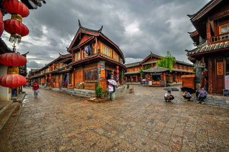 Lijiang China old town streets and buildings, world USECO heritage in yunnan province  Editorial
