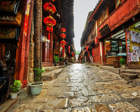Lijiang China old town streets and buildings in yunnan province.
