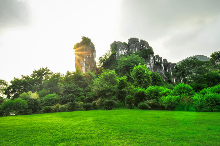 Guillin Seven Star Park and Karst rocks Yangshuo China. photo