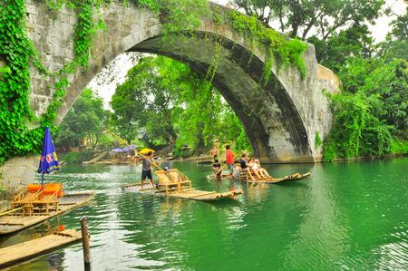 Beautiful Li river side Karst mountain landscape in Yangshuo Guilin, China