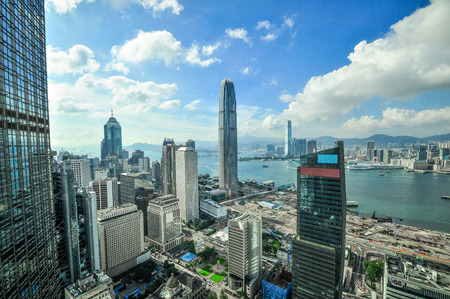 finanical: Hong Kong Bank Skysraper with blue sky, China Editorial