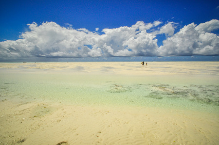 Zanzibar beach and coral rocks bule green ozean Tanzania photo