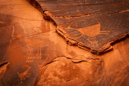 Monument Valley rock painting texture with navajo indian animal picture photo