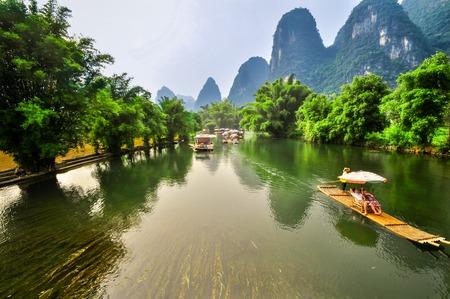 Beautiful Li river side Karst mountain landscape in Yangshuo ricefield Guilin, China