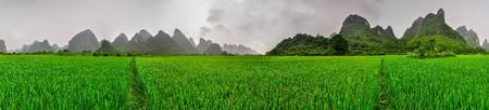 Beautiful Li river side Karst mountain landscape in Yangshuo ricefield Guilin, China photo