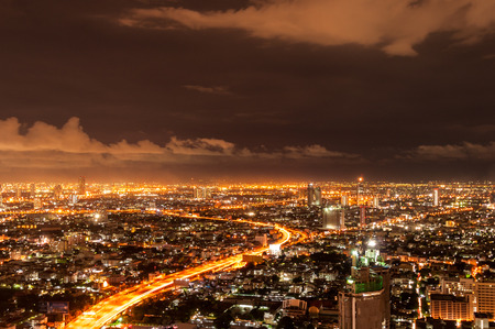 Panorama view of Bangkok city scape at nighttime photo