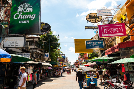 shoestring: Tourists walk along backpacker haven Khao San Road as officials warn visas on arrival may be rolled back in the wake of recent terrorism incidents on Aug 24, 2014 in Bangkok, Thailand.