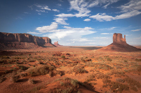 typical Monument Valley. Sandstone formation in Monument Valley during sunset.