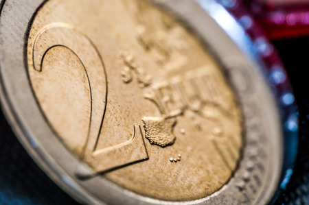 europe closeup: two Euro Coin closeup with europe frontside