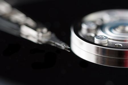 hdd: HDD Harddisk internals closeup datadisk reader surface