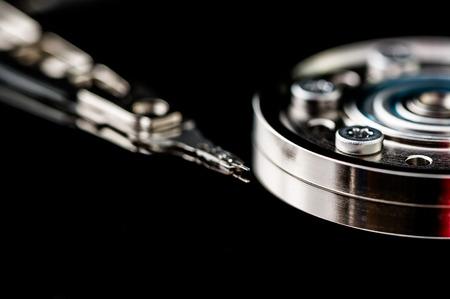 harddisk: HDD Harddisk internals closeup datadisk reader surface