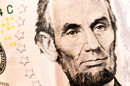 five dollar bill: Money five Lincoln Dollar Bill 5 Bucks Stock Photo