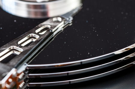 internals: HDD Harddisk internals closeup datadisk reader surface