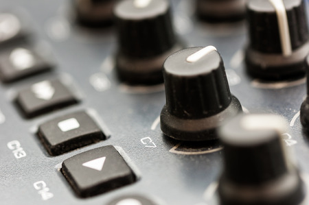 44443755: Synthesizer patch panel Close-up button knob on touch panel Stock Photo