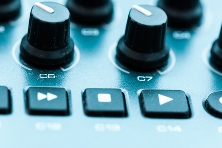 patching: Synthesizer patch panel Close-up button knob on touch panel Stock Photo
