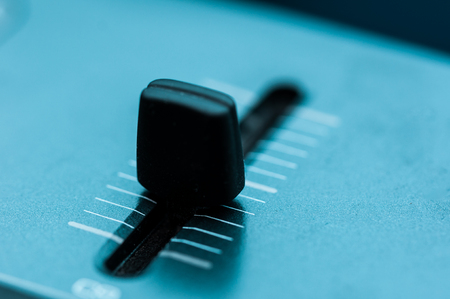 patch panel: Synthesizer patch panel Close-up button knob on touch panel Stock Photo