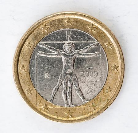 one Euro Coin with italian leonardi da vinci backside used look