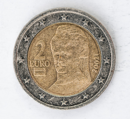 one object: two Euro Coin with europe Austria backside used look