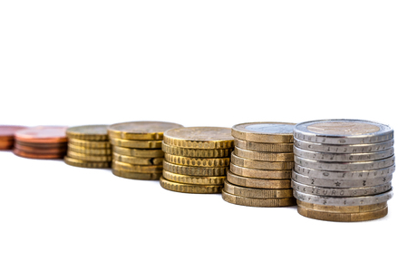 2 50: stack of coins on white background isolated