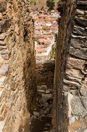 urubamba valley: Terraces of Pisac in Urubamba valley near Cusco (Peru)