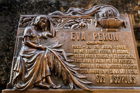evita: Mausoleum at Cementerio de La Recoleta on AUGUST 18, 2015 in Buenos Aires, Agentina. Cemetery in Recoleta, the grave site of Evita Peron, the first lady of the former Argentina president Juan Peron.