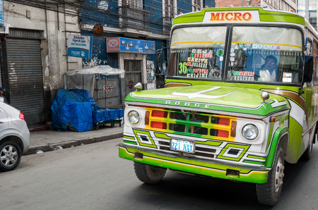 murillo: Traffic and typical Taxi car on AUGUST 16, 2015 in La Paz, Bolivia.