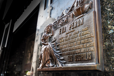 grave site: Mausoleum at Cementerio de La Recoleta on AUGUST 18, 2015 in Buenos Aires, Agentina. Cemetery in Recoleta, the grave site of Evita Peron, the first lady of the former Argentina president Juan Peron.