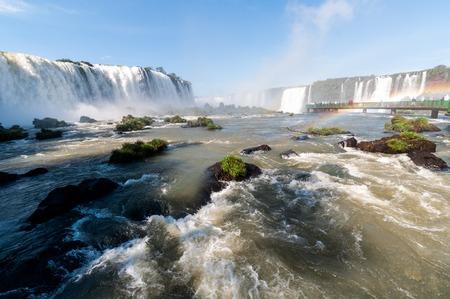 Iguacu (Iguazu) water falls on a border of Brazil and Argentina