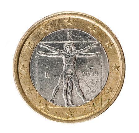 Leonardo Da Vinci Vetruvian Man one Euro Coin backside on white