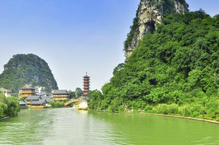 chinese bamboo: Guillin Seven Star Park and Karst rocks Yangshuo China.