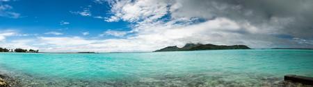 bora: panorama of  Bora Bora near airport French Polynesia Stock Photo